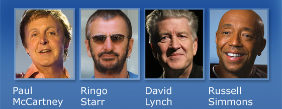 Paul Mccartney, Ringo Starr, David Lynch, Russel Simmons